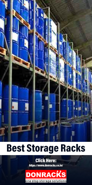 A Group of Blue Metal Barrels Arranged In Best Storage Racks For Chemical Industry Purpose.